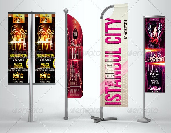 professional flag banner mock up psd designs
