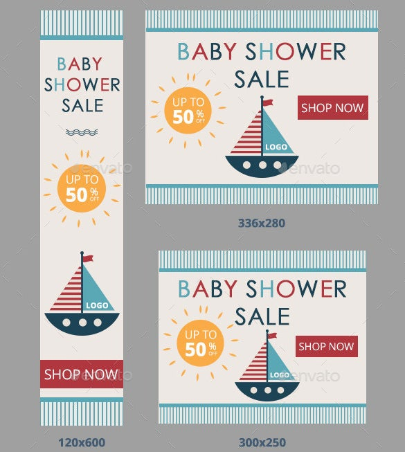 baby shower sale banner set psd format download