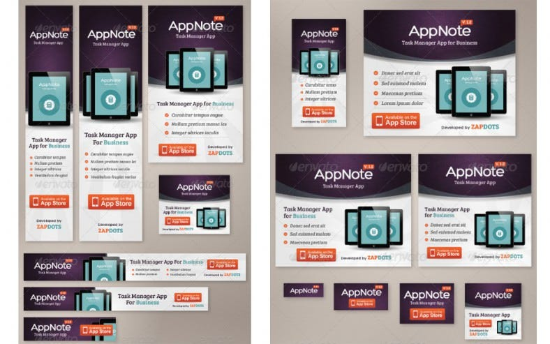 mobile app web banner set ad psd design 788x493