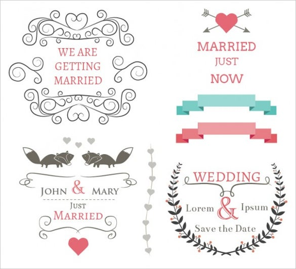 designed wedding banners set free vector