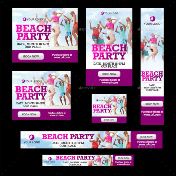 beach party banners photoshop psd format