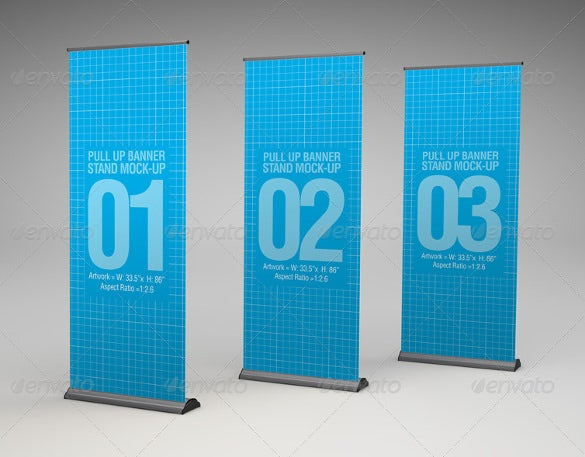 pull up banner stand mock up psd format