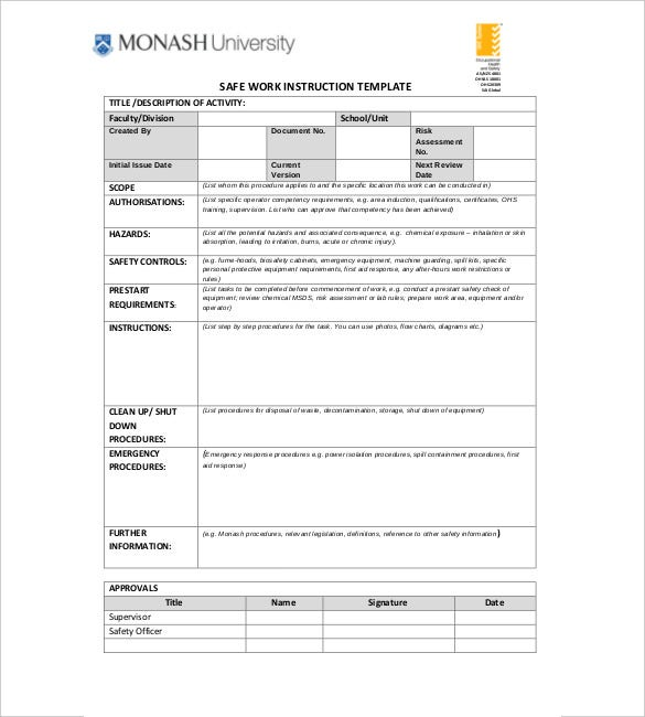 safe work instruction template pdf format