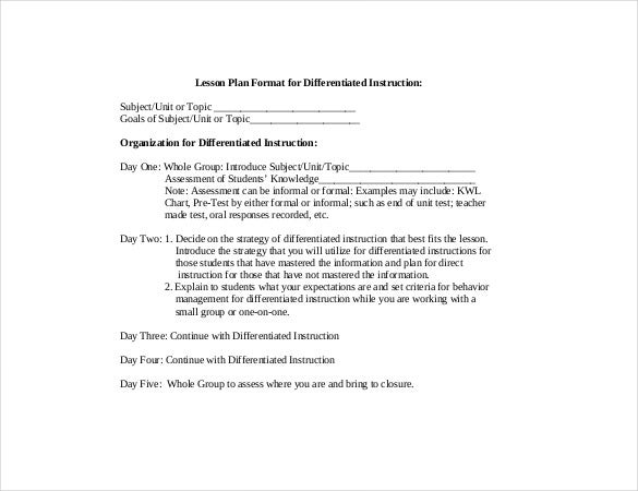 sample instruction lesson plan template pdf download