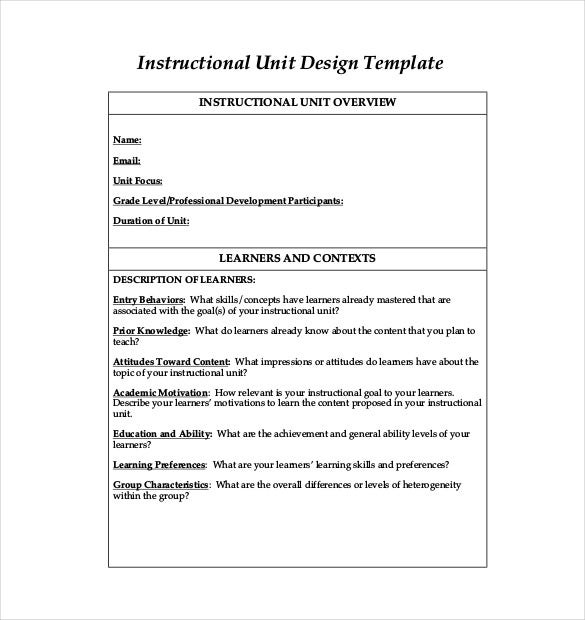 instructional unit design template pdf format