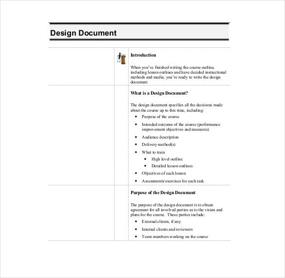 printable instruction desing document template pdf