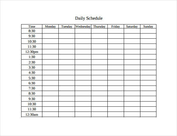 Attractive Daily Schedule Time Table PDF Free Download