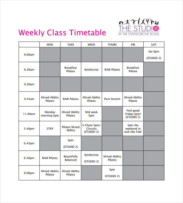 Class timetable template school schedule templates blank weekly timetable template 9 free word pdf documents download free pronofoot35fo Gallery