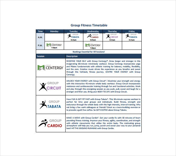 group fitness time table pdf template free download