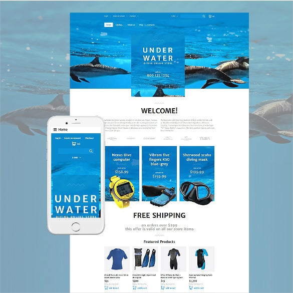 diving responsive virtuemart php template
