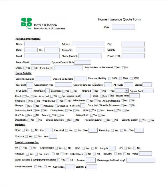 home insurance quotation form pdf template free download