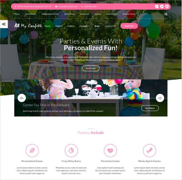 kids school party planner html website theme