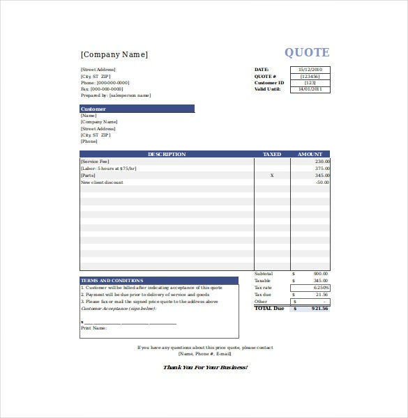 price quotation template excel free download