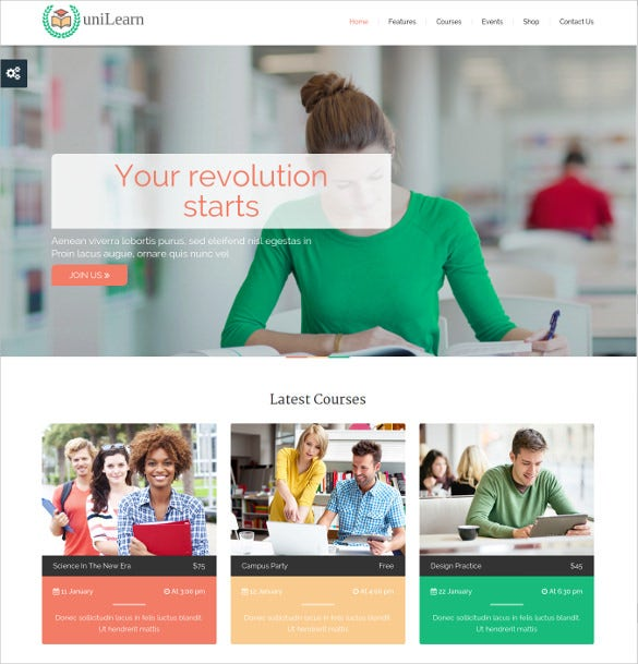 muti purpose school website theme