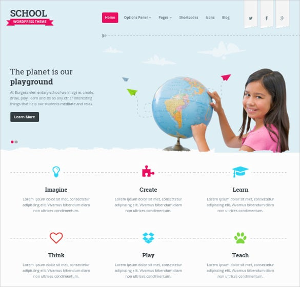 premium school wordpress website template