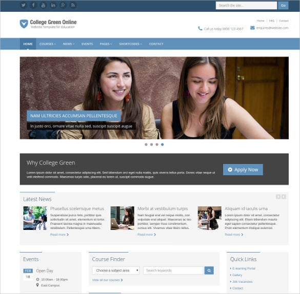 online responsive school html website template