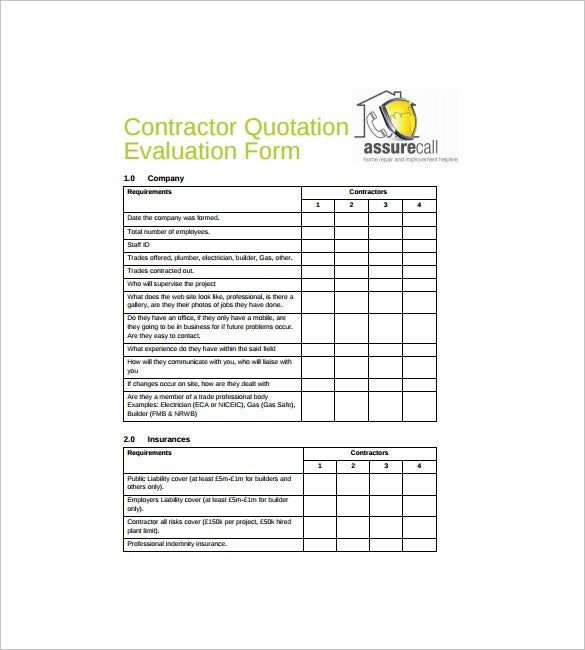 Contractor Quotation Evaluation Form Free PDF Template Download  Free Quote Form Template