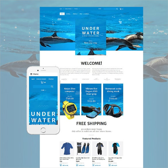 diving responsive virtuemart ecommerce template