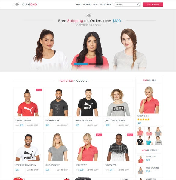 diamond responsive 3dcart ecommerce theme