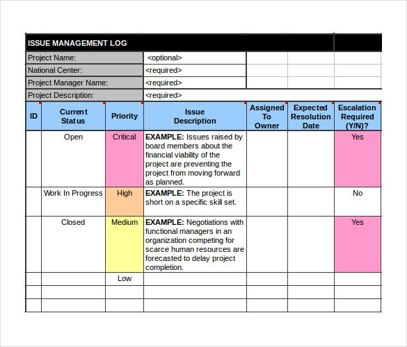 project management tracking template