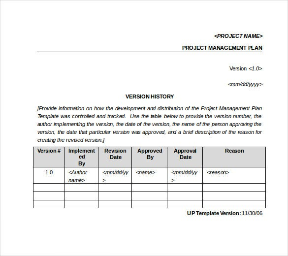 sample project management tracking template word format