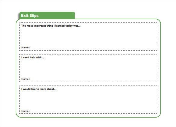 blank green exit slip template free download
