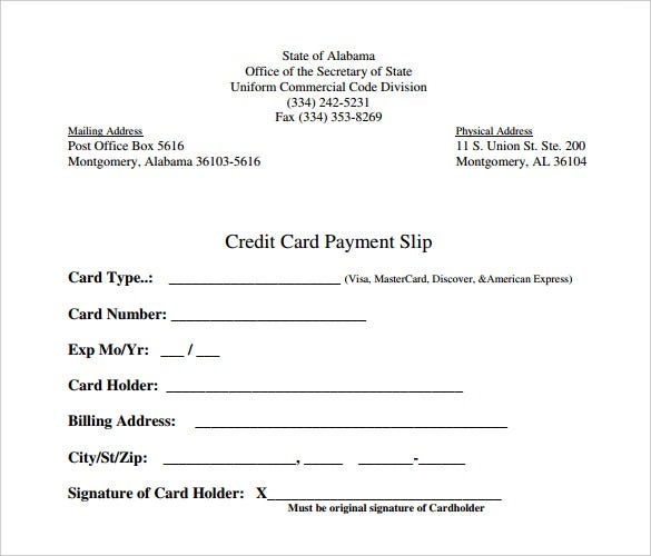 Credit Card Payment Slip Template PDF Download  Permission Slip Template Word