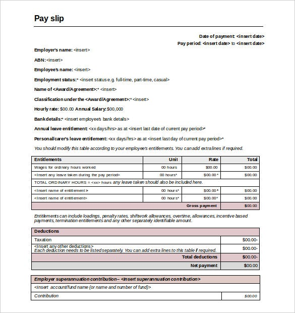Comany Employee Pay Slip Template Word Format Download  Payslip Template Free Download
