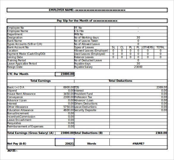 Salary Structure Template – Salary Slip Format for Contract Employee