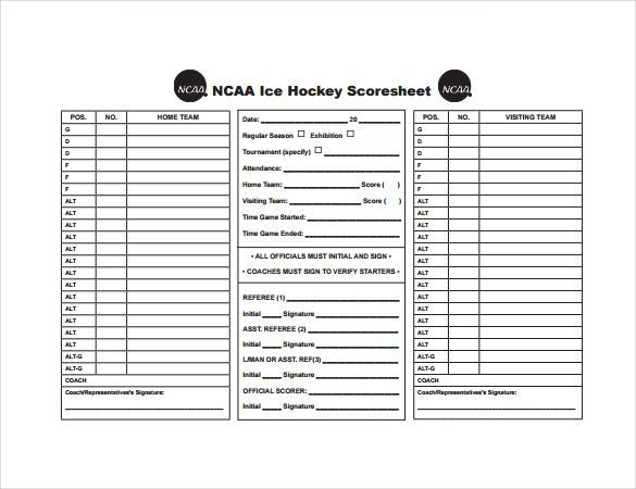 Hockey Score Sheet. Over 30 Hockey League College Hockey