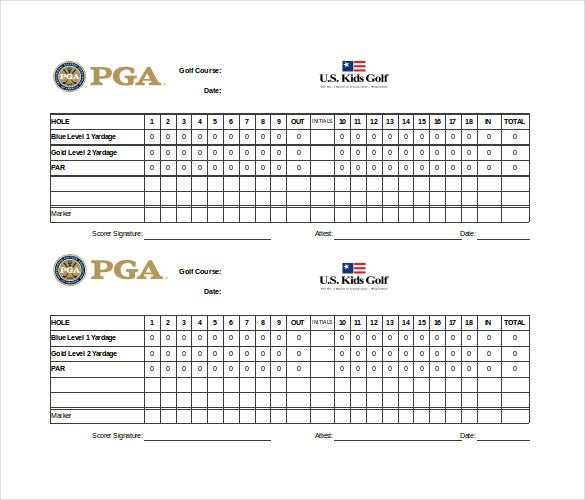 excel format golf scorecard template free download