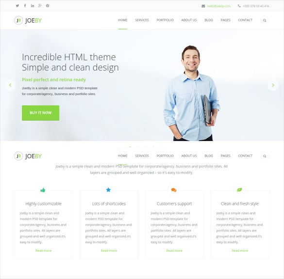 clean one page business html5 template