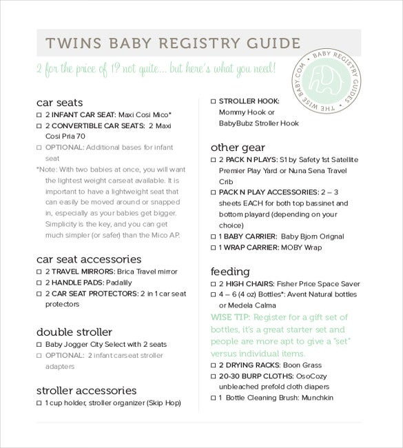Baby Registry Checklist Templates   Free Word Excel Pdf
