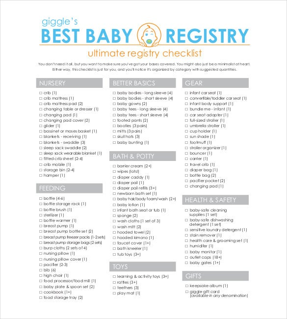 Baby Registry Checklist Printable - Template