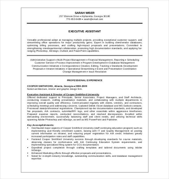 executive administrative assistance resume pdf