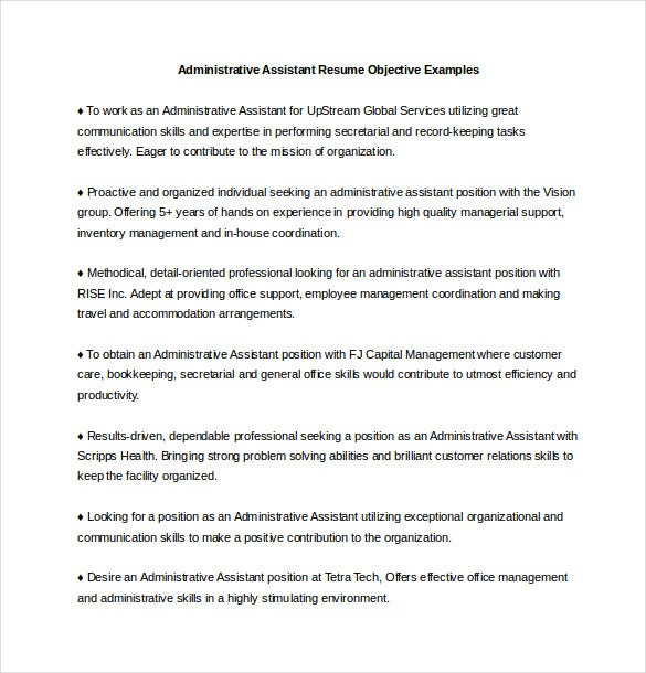 Administrative Assistant Resume Objective Examples Word Format  Administrative Resume Objective