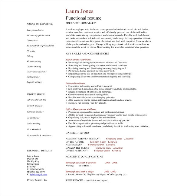 Administrative Assistant Resume Skills Example PDF Download  Administrative Assistant Functional Resume