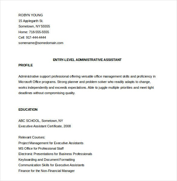 Administrative Assistant Resume Template – 12+ Free Word, Excel