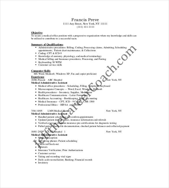 sample medical administrativve assistant resue pdf