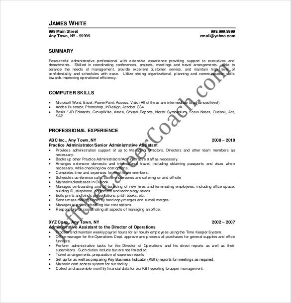 Administrative Assistant Resume Template   Free Word Excel
