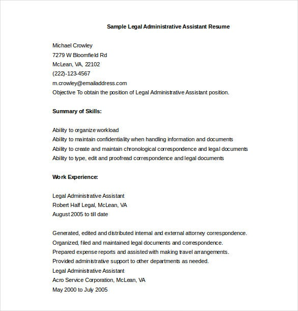 sample legal administrative assistant resume word