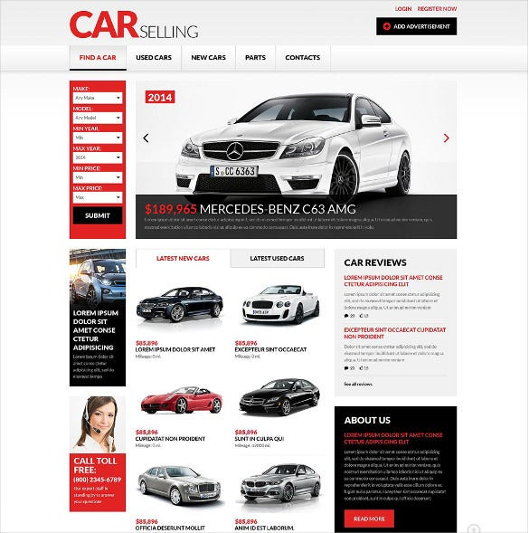 car dealer responsive website theme