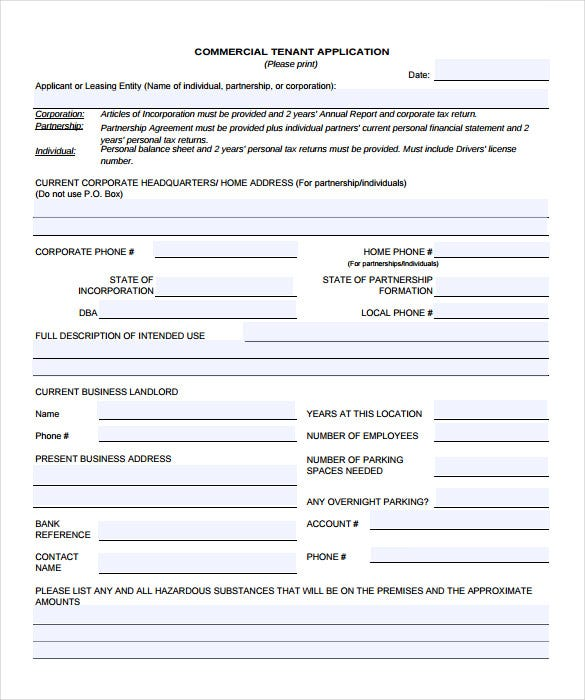 commercial property licence agreement template - rental application 18 free word pdf documents download