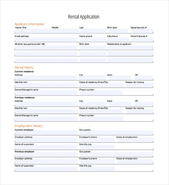 free printable rental application form word