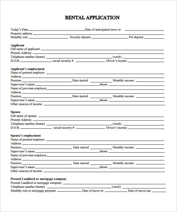 Adorable image within printable rental application form