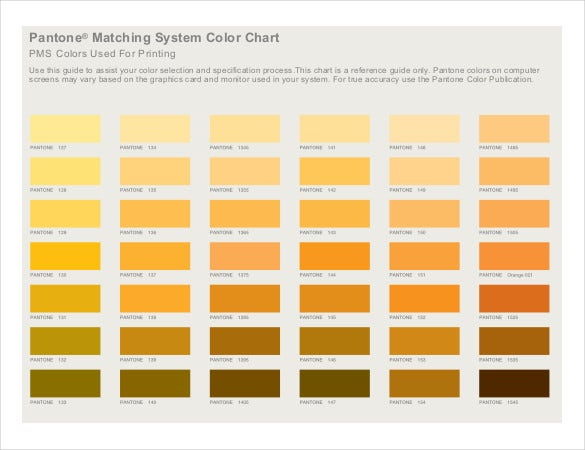 Sample Pantone Matching System Color Chart PDF Download