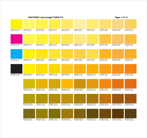 Pantone Color Chart Template - 7+ Free Word, Excel, Pdf Documents