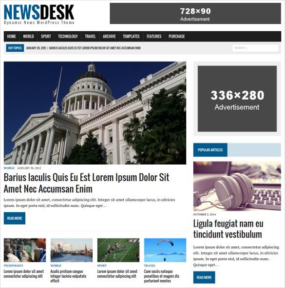 newsdesk magazine wordpress template