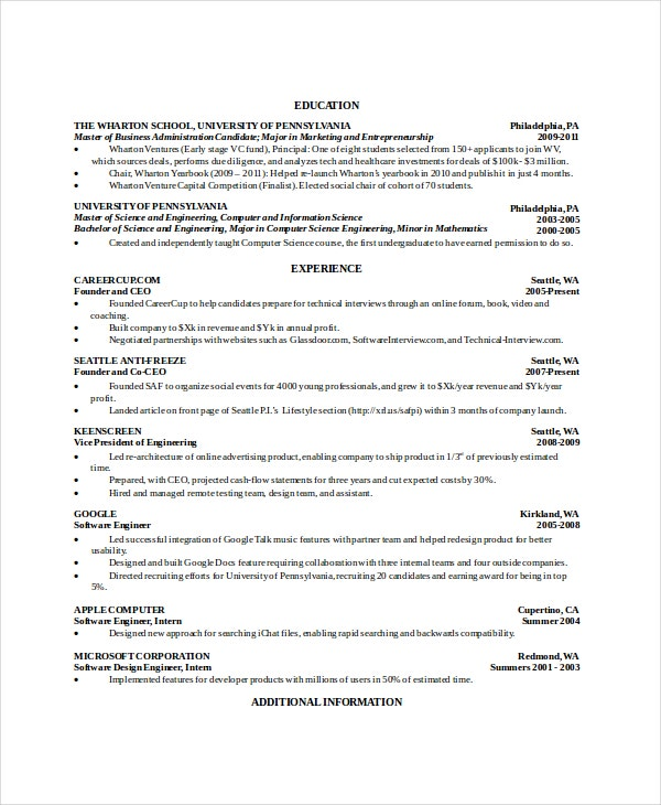 google ceo resume