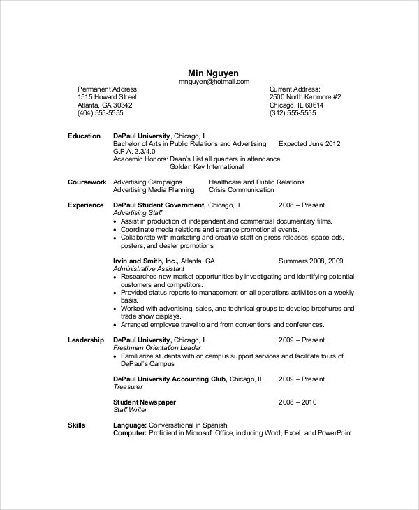 Examples Of A Resume Clarkson University Senior Computer Science